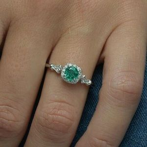 EMERALD & CRYSTAL PROMISE RING